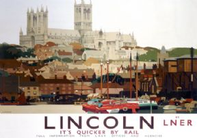 Lincoln Cathedral, Brayford Pool. LNER Vintage Travel Poster by Fred Taylor. 1924